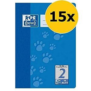 Oxford 100050407 - Cuaderno de ejercicios (15 unidades, con rayas triples, 16 hojas, A5, 90 g/m²), color azul