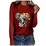 ★ Futurelove ★ ⭐ Womens Tops, Plus Size Elephant Printed T Shirts Women Casual Long Sleeve Tees Winter Loose Blouse Tops Wine