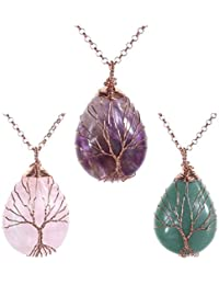 Vintage Tree of Life Wire Wrapped Copper Teardrop Natural Gemstones Pendant Necklace, with Gift Box
