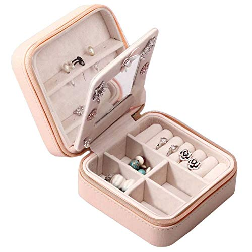 (Beaut(TM) Jewelry Organizer Box Display Storage Zippered Mini Travel Case for Women/Girls – Portable with Built-in Mirror Jewelry Holder)