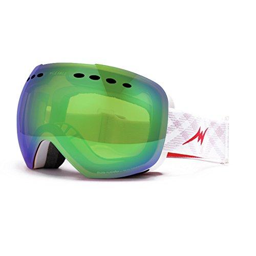 SE7VEN Masques De Ski Adulte,Lentille Double Couche Anti-buée Unisexe Snowboard Goggle Large Sphercial Lunette Lentille Lunettes Myopie Compatible R