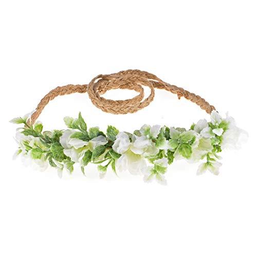 Tieback Flower Crown Flower Headband Baby Girl Toddler Woodland Green Leaf Wreath (White-2)]()