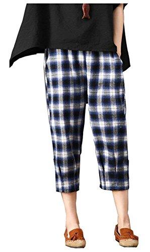 Con Tasche Moda Vita Accogliente Eleganti Stoffa Pantaloni Pantaloni Libero Tempo Pantaloni Pantaloni Nahen Lunga Mode Di Blau Elastica Donna Reticolo di marca Baggy 7 Estivi Taille 8 q1tIYw0w