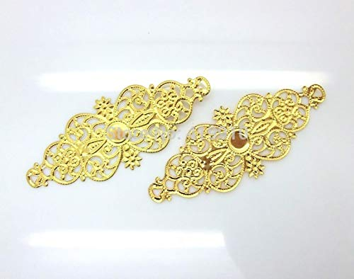 DalaB -50 Gold Plated Filigree Flower Wraps Findings Connectors Gift Decoration DIY Flatback Scrapbooking 6.1x2.4cm ()