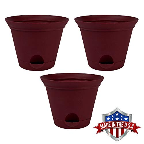 3 Pack 11.5-in. Salsa Red Plastic Self Watering Flower Pot or Garden Planter