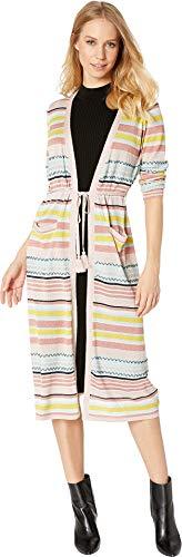 Juicy Couture Women's Lurex Stripe Lightweight Cardigan Burnt Rose Lurex Stripe Petite/X-Small