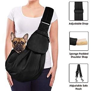 Lukovee Pet Sling, Hand Free Dog Sling Carrier Adjustable Padded Strap Tote Bag Breathable Cotton Shoulder Bag Front Pocket Safety Belt Carrying Small Dog Cat Puppy Machine Washable 27