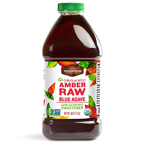 Madhava Naturally Sweet Organic Blue Agave Low-Glycemic Sweetener, Amber Raw, 46 ()