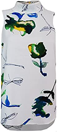 Colour Fashion Women's Ex Next Sleeveless High Roll Neck Tulips Print Bl