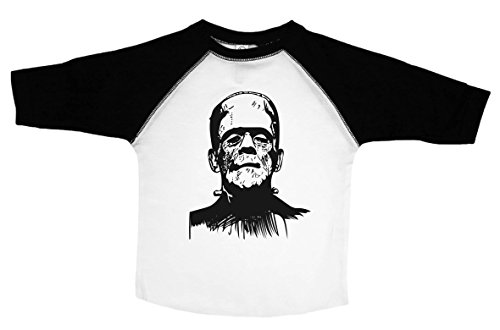 Halloween Shirt for Kids / FRANKENSTEIN / Unisex Toddler Tee / Baffle (2T, RAGLAN BLACK & WHITE)