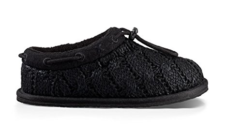 UGG Girls Freesia Cable Knit Loafer Black Size (Cable Knit Kids Shoes)