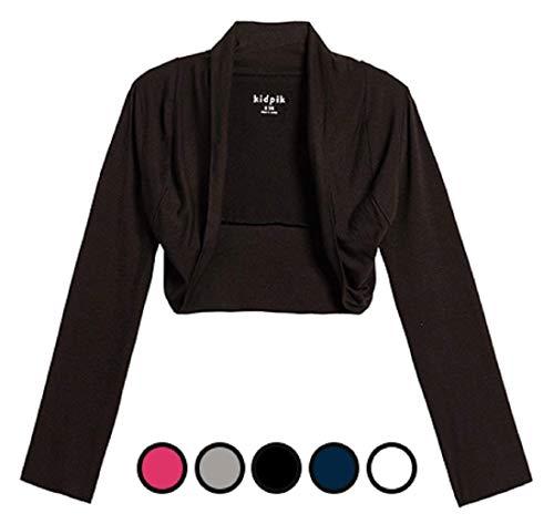 KIDPIK Shrug Cardigans for Girls – Versatile Open Bolero in Black, White, Fuchsia Purple, Blue Grey (Pink Cardigan Sweater Girls)