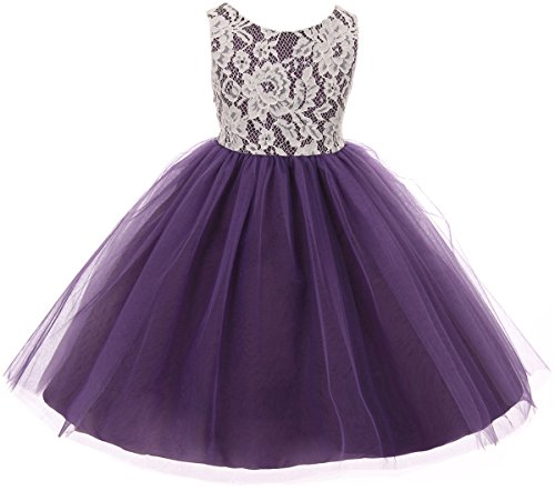 Little Girl Sleeveless Lace Bodice Illusion Tulle Easter Flower Girl Dress USA Purple 6 KD (Illusion Bodice)