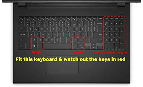 Saco Keyboard Protector Silicone Skin Cover for Dell Inspiron 5570 Laptop -Black with Clear