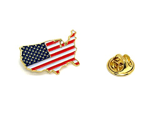 State Design Lapel Pin - Proudy Patriotic United States Lapel Pin - Outline American Flag Brooch
