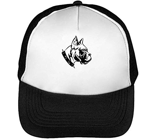 1GD Cool Pitbull Spiked Necklace Gorras Hombre Snapback Beisbol Negro Blanco