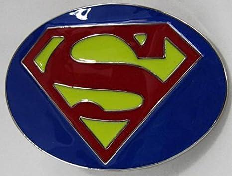 6b3a4b23626 Superman boucle en Bleu   Rouge   Jaune Boucle de ceinture  Amazon ...