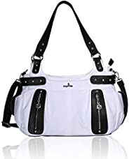 Angelkiss Top Zippers Large Capacity Handbags Washed Leather Purses and Nylon with PU Leahter Purses Shoulder