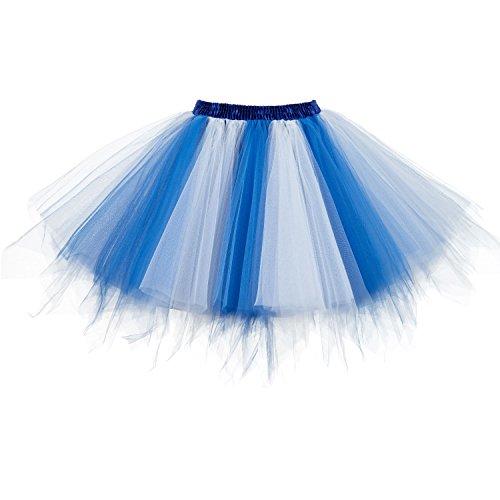 Dresstore Women's Short Vintage Petticoat Skirt Ballet Bubble Tutu Multi-colored White-Blue XXL