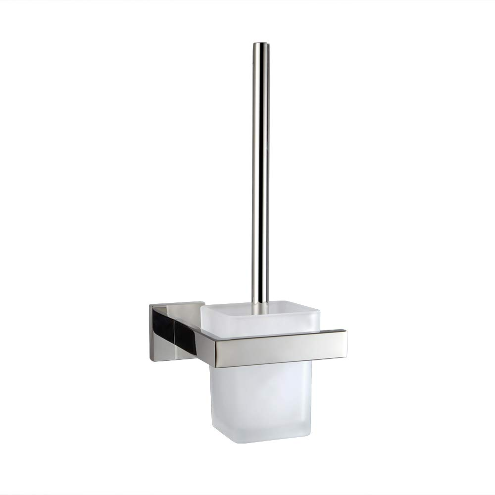 TURS Toilet Brush and SUS 304 Stainless Steel Holder Glass Canister Wall Mount for Bathroom Storage Modern Square Style, Q7MTS-P