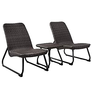 BeUniqueToday 3 pcs Outdoor Cushioned Rattan Furniture Sets All-Weather Wicker Chair & Table Set Perfect for Pool Side, Deck, Patio and Garden Use