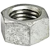 """Steel Hex Nut, Hot-Dipped Galvanized Finish, Grade 2, ASME B18.2.2, 1/2""""-13 Thread Size, 3/4"""" Width Across Flats, 7/16"""" Thick (Pack of 50)"""