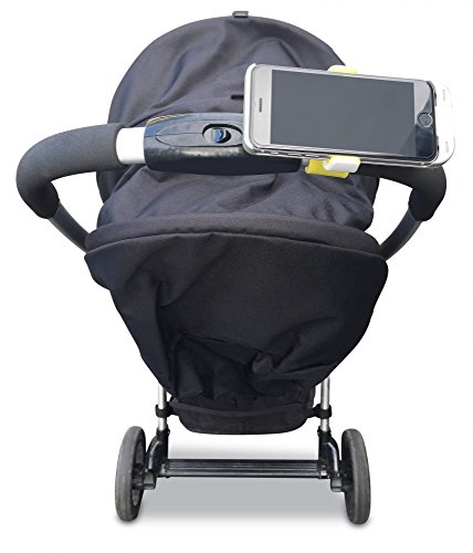 Slimline Baby Stroller Buggy Pram Cell Phone Holder with Strong Easy Silicon Clip - Suits All Brands & Models (Grey)