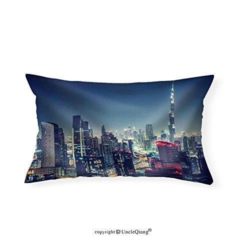 VROSELV Custom pillowcasesBeautiful Dubai Cityscape BirdS Eye View on a Night Urban Scene - Fabric Home - Elephant Design Dubai
