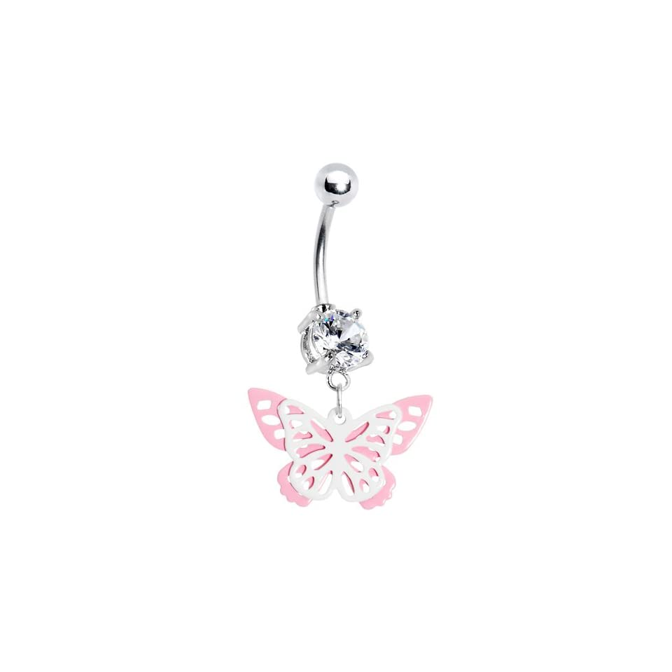 Crystalline Gem Butterfly Wings Belly Ring