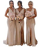 Split Bridesmaid Dresses Long V-Neck Chiffon Pleated Formal Prom Gowns for Women Light Champagne Size 4
