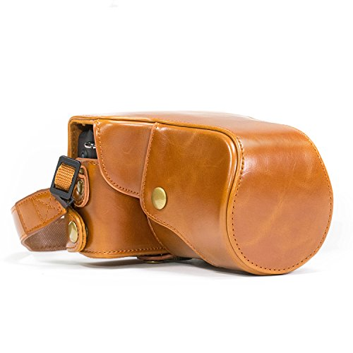 MegaGear (Ever Ready) Protective Leather Camera Case, Bag for Canon Eos M , Canon Eos M2 (Light Brown)