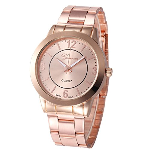 XILALU Women watch, Stainless Steel Sport Quartz Hour Wrist Analog Watch (Rose Gold)