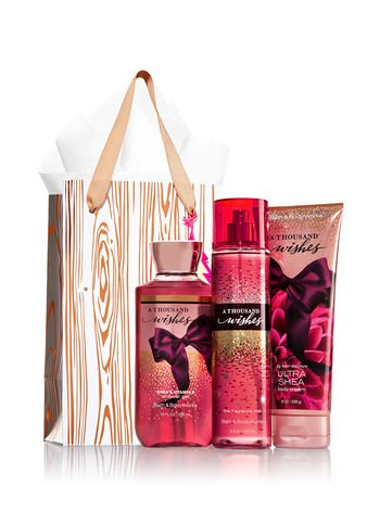 Bath & Body Works A Thousand Wishes Rose Gold & Natural Gift Kit, Body Cream, Shower Gel, Fragrance Mist - Full Sizes