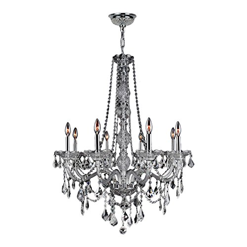 Worldwide Lighting Provence Collection 8 Light Chrome Finish and Clear Crystal Chandelier 28