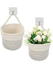 """BUYGOO 2PCS Hanging Cotton Rope Baskets, 6""""x6"""" Small Woven Wall Hanging Storage Baskets with 2 Hooks, Woven Rope Closet Organizer with Handle for Flower Plants, Towels, Keys, Wallets, Sunglasses"""