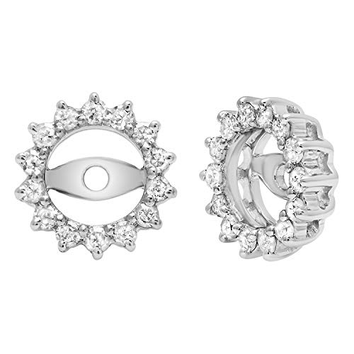Dazzlingrock Collection 0.30 Carat (Ctw) Round Diamond Ladies Removable Jackets For Stud Earrings 1/3 CT, Sterling Silver (Sterling Silver Earring Jackets For Diamond Studs)
