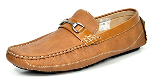 Bruno MARC MODA ITALY BM-PEPE-3 Men's Classic Fashion On The Go Driving Casual Loafers Boat Shoes TAN SIZE - Leather Loafers Mens