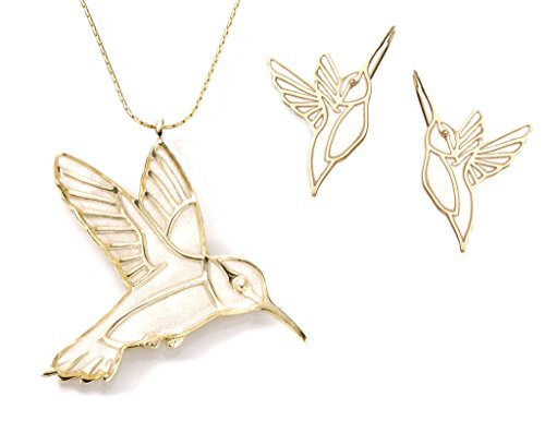Gold Plated Sterling Silver Hummingbird Necklace Pendant and Earrings Cream Polymer Clay Bird Jewelry Set, 16.5'' Gold Filled Chain by Adina Plastelina Handmade Jewelry