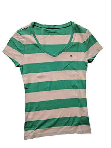 Tommy Hilfiger Damen V-Neck Shirt T-Shirt mint-weiß Größe L