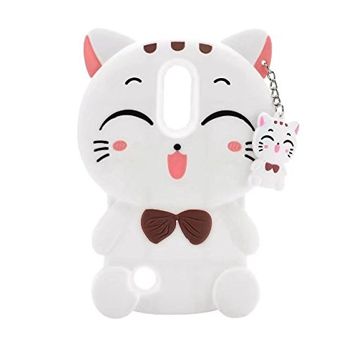 ZTE Max XL Cartoon Silicone Cover,Cute 3D Kitty Lucky Fortune Cat Design Phone Bag Soft Rubber Case for ZTE Max XL / ZTE N9560 (2017 Release)