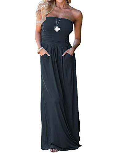 - Ofenbuy Womens Off The Shoulder Maxi Dresses Summer Strapless Bandeau Long Dress with Pockets