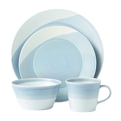 Royal Doulton 1815TW25069  Dinnerware Set, Blue, 4-Piece - The Royal Doulton 1615 Blue 4-Piece Dinnerware Set contains a dinner plate, salad plate, all purpose bowl and mug An exceptional value, this contemporary dinnerware set is durable enough for everyday use and beautiful enough to use on special occasions Crafted of porcelain - kitchen-tabletop, kitchen-dining-room, dinnerware-sets - 41Xke9xYcKL. SS400  -