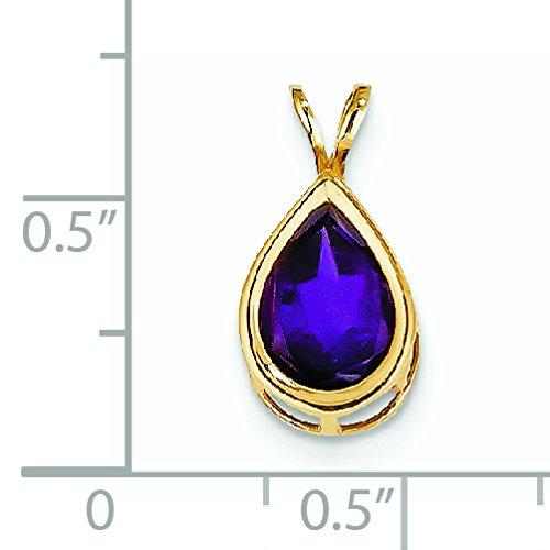 14 carats Poire 10 x 7 mm Pendentif à chaton JewelryWeb-Améthyste