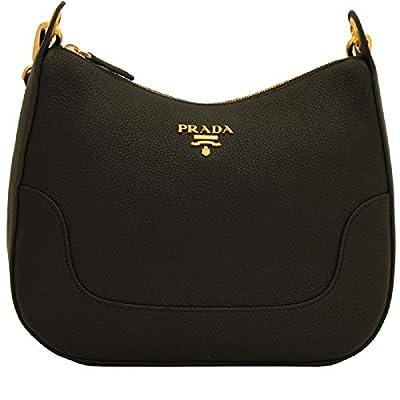 Prada Vitello Daino Black Leather Shoulder Handbag with Nylon Web Striped Strap 1BC052