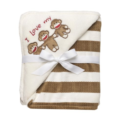 Baby Starters Sock Monkey Striped Blanket, Tan (Monkey Newborn Blankets)