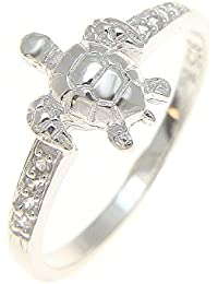 Sterling silver 925 Hawaiian sea turtle ring with clear cz size 3 - 10