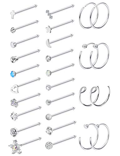 Milacolato 20G 28Pcs Stainless Steel Nose Stud Set Bone L-Shaped Screw Labret Lip Nose Ring Hoop Piercing Jewelry Bone-Shape