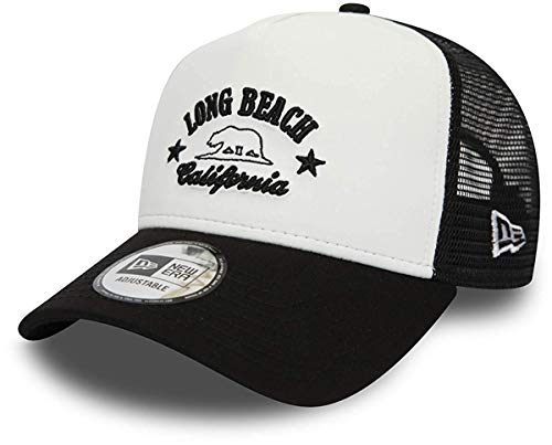 New Era Skate - New Era Long Beach A Frame Adjustable Trucker Cap Destination White/Black - One-Size