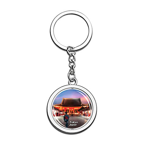 Sensoji Temple Tokyo Japan Keychain 3D Crystal Spinning Round Stainless Steel Keychains Travel City Souvenir Key Chain Ring