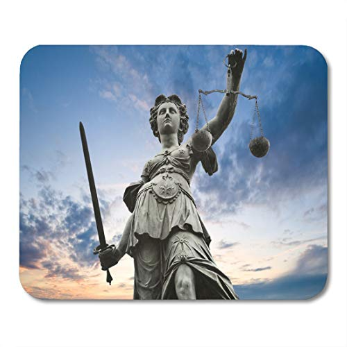 Emvency Mouse Pads Law Justice Statue Sword and Scale Cloudy Sky Mouse Pad for notebooks, Desktop Computers mats 9.5